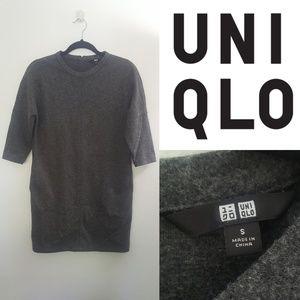 Uniqlo Classic Grey 3/4 Sleeve Dress with Pockets